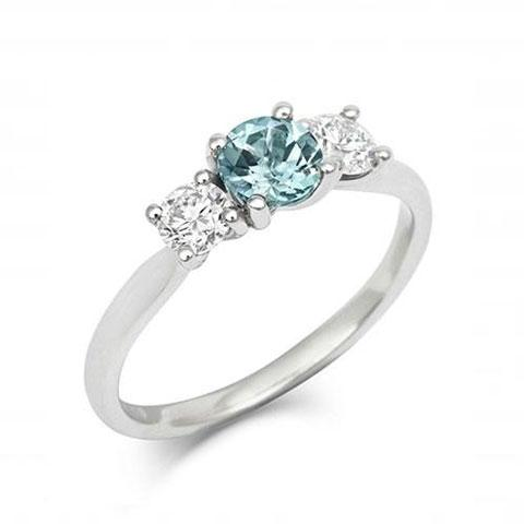 Nerine Teal Sapphire and Diamond Trilogy Engagement Ring