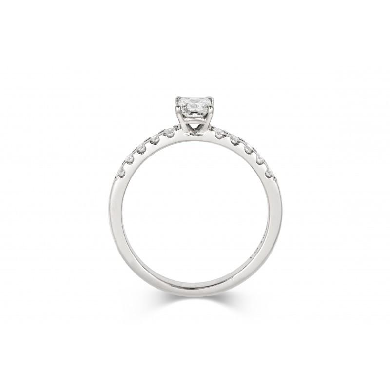 0.3ct Princess Ethical Solitaire Diamond Engagement Ring with Diamond Set Band - CRED Jewellery - Fairtrade Jewellery - 3