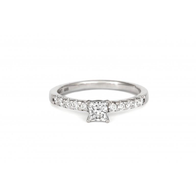 0.3ct Princess Ethical Solitaire Diamond Engagement Ring with Diamond Set Band - CRED Jewellery - Fairtrade Jewellery - 2