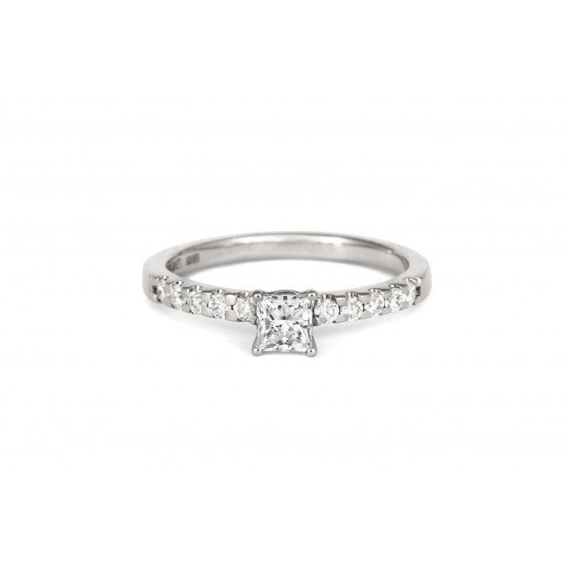 0.5ct Princess Solitaire Diamond Engagement Ring with Diamond Set Band - CRED Jewellery - Fairtrade Jewellery - 2