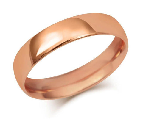 Gents Lightweight Court Wedding Ring (18ct) - Rose Gold