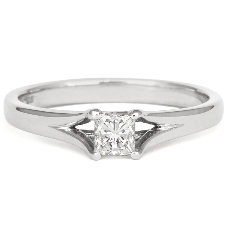 0.5ct Princess Enfold Solitaire Ethical Engagement Ring - CRED Jewellery - Fairtrade Jewellery - 3