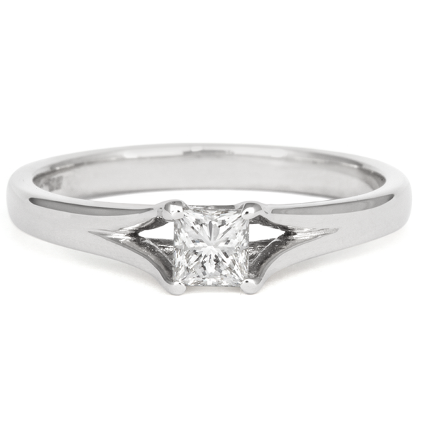 0.5ct Princess Enfold Solitaire Ethical Diamond Engagement Ring - CRED Jewellery - Fairtrade Jewellery - 3