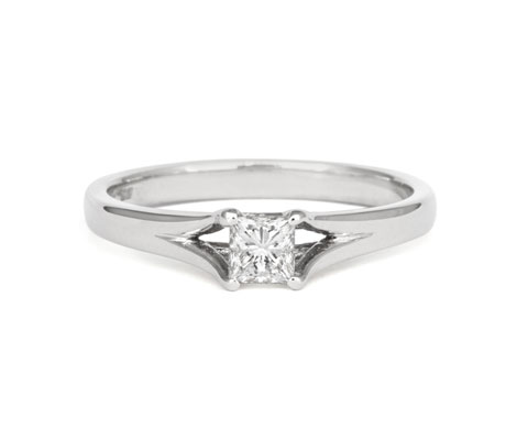 Princess Cut Enfold 0.3ct Ethical Solitaire Diamond Engagement Ring