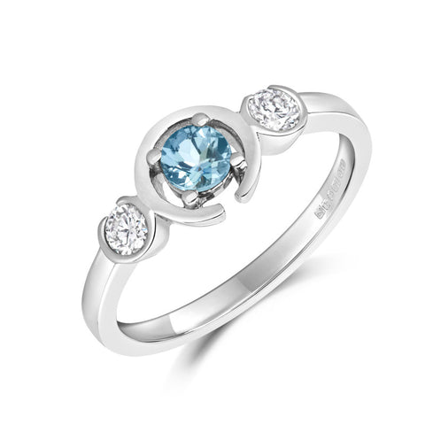 Le Trois Teal Ethical Sapphire and Diamond Engagement Ring