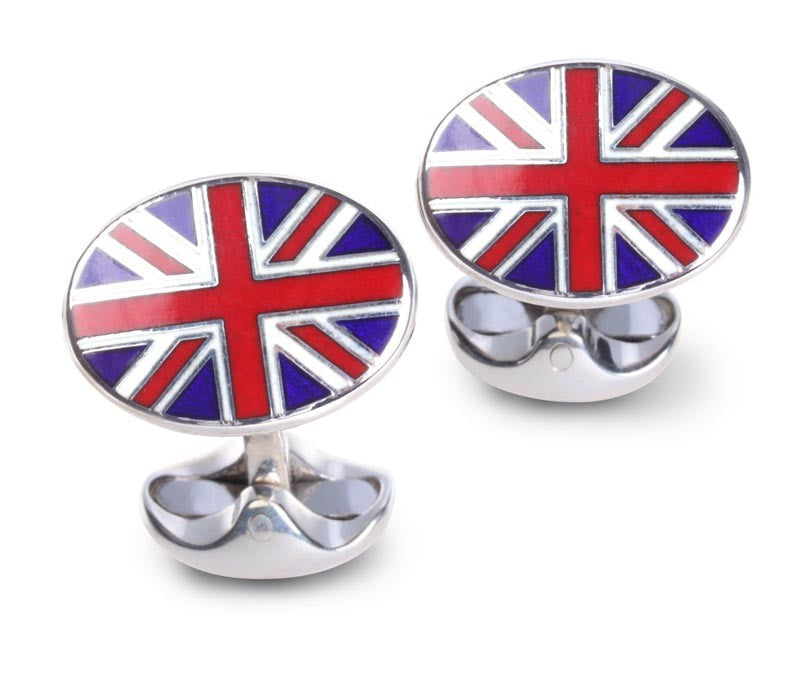 Union Jack Oval Cufflinks - CRED Jewellery - Fairtrade Jewellery - 1