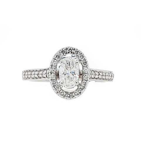 18ct White Gold Oval Diamond Claw Set Ring at Bramley's Jewellers of Carlow