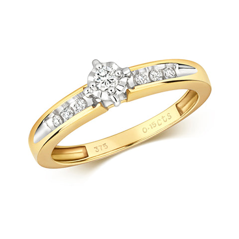 9CT Yellow Gold Solitaire round Diamond set in a star light setting plus 3 diamonds set in each shoulder.