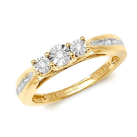9CT Yellow Gold 3 round Diamonds set in a star light setting plus 3 diamonds set in each shoulder.