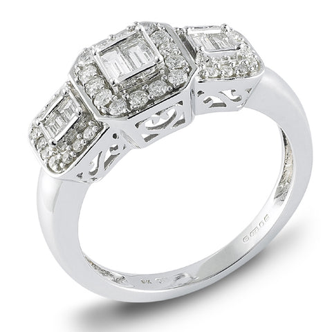 9ct White Gold Diamond and Baguette Ring at Bramleys of Carlow