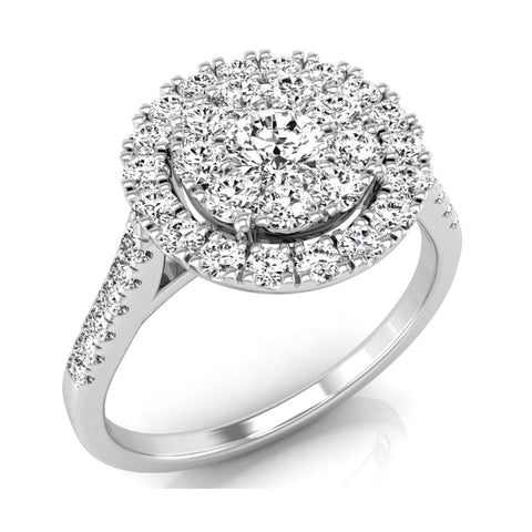 9ct White Gold Diamond Set Cluster Halo Ring at Bramley's Jewellers of Carlow