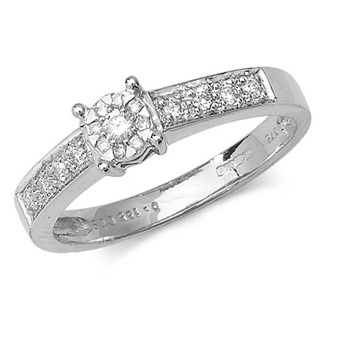 9ct White Gold Diamond set Halo Cluster ring with diamonds set in the shoulders at Bramley's Jewellers of Carlow