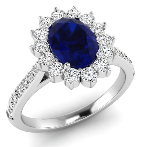 9ct White Gold Diamond and Oval Sapphire Ring at Bramleys of Carlow