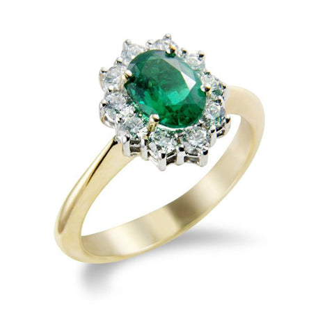 9CT Yellow Gold Diamond and Emerald Ring at Bramley's Jewellers of Carlow