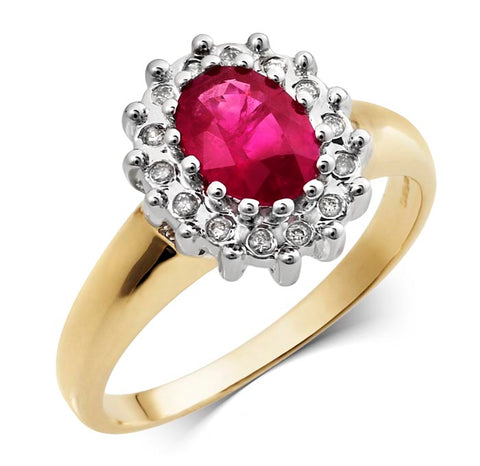 9CT Yellow Gold Diamond and Ruby Ring at Bramley's Jewellers of Carlow