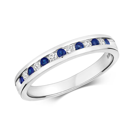 9ct White Gold Diamond & Sapphire 1/2 channel set Eternity Ring.