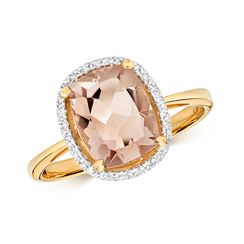 9ct Yellow Gold diamond ring with Morganite cushion shape stone 4claws