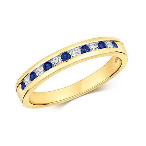 9ct Yellow Gold Diamond & Sapphire 1/2 channel set Eternity Ring. At Bramley's Jewellers of Carlow