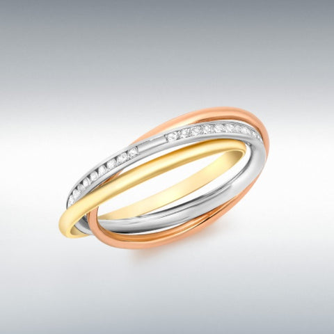 9ct 3 Colour Gold Cubic Zirconia Set Russian Band Ring At Bramley's Jewellers Of Carlow