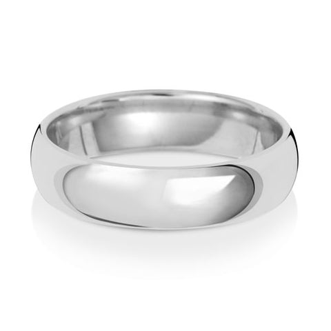 9CT White Gold Traditional Court Wedding Ring.