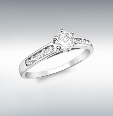 9CT WHITE GOLD 5MM ROUND SOLITAIRE CZ WITH 10 X 2MM CZ SHOULDER RING AT BRAMLEY'S JEWELLERS OF CARLOW