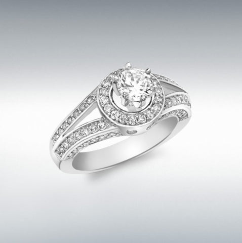9ct White Gold 6mm round cubic zirconia with 74 X 1.2mm cubic zirconia double-band shoulder ring. AT Bramley's Jewellers of Carlow