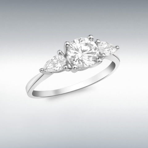 9ct White Gold ring with 1 round and 2 pear shaped cubic zirconia stones claw set. At Bramley's Jewellers of Carlow