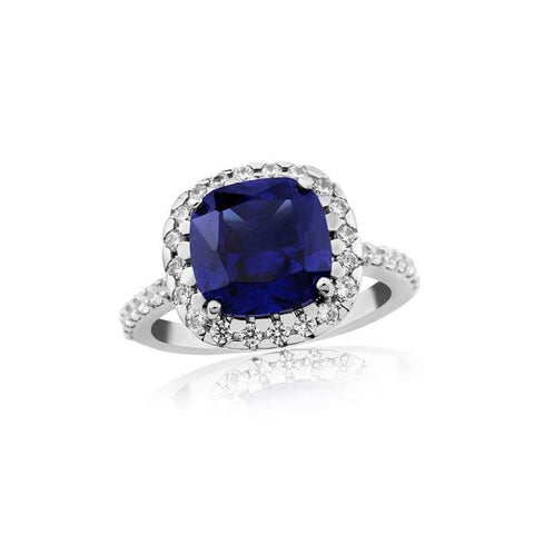 Sapphire Cushion with Cubic Zirconia Ring