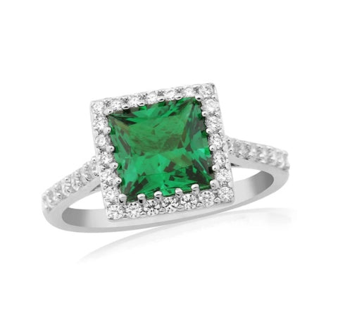 Waterford Crystal Sterling Silver White Cubic Zirconia and Emerald Set Ring