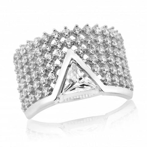 Waterford Crystal Sterling Silver White Cubic Zirconia Set Triangle Centre Ring at Bramley's Jewellers of Carlow