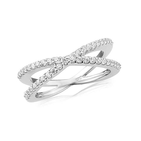 Waterford Crystal Sterling Silver White Cubic Zirconia Set Slim Crossover Ring at Bramley's Jewellers of Carlow