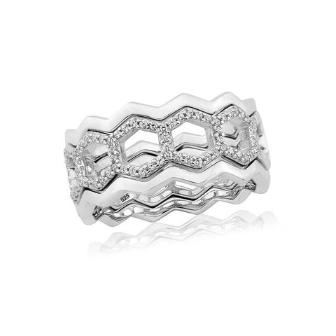 Waterford Crystal Sterling Silver Open 3 Band Hexagon Ring at Bramley's Jewellers of Carlow