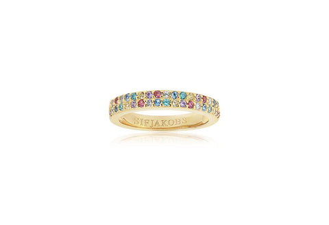 18K Yellow Gold plating on Sterling Silver ring set with double row of round multicoloured cubic zirconia at Bramley's Jewellers of Carlow