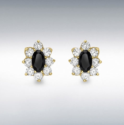 9ct Yellow gold oval black sapphire and cubic zirconia 7mm X 9mm stud earrings at Bramleys of Carlow