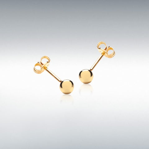 9ct Yellow gold 4mm polished ball stud earrings at Bramley's of Carlow