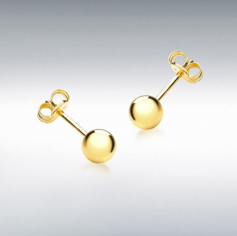 9CT YELLOW GOLD 5MM POLISHED BALL STUD CHILD'S EARRINGS at Bramley's of Carlow