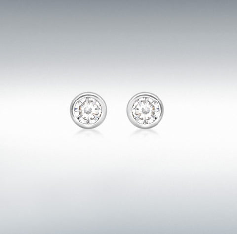 9ct white gold 3mm cubic zirconia 3.3mm rub over stud earrings at Bramleys of Carlow