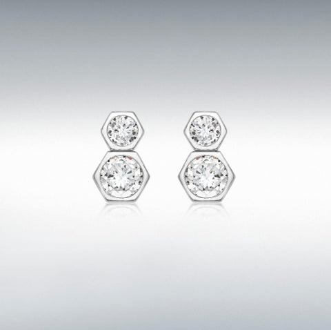 9ct white gold cubic zirconia 5mm X 8mm Double Hexagon stud earrings at Bramleys of Carlow
