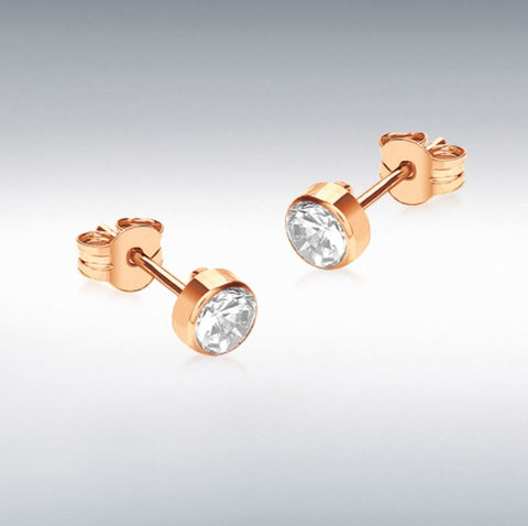 9ct rose gold 4mm round white cubic zirconia 4.2mm rub over stud earrings at Bramleys of Carlow
