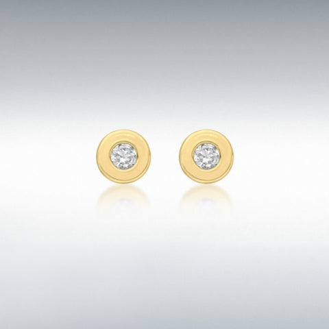 9ct yellow gold 4.5mm round white cubic zirconia doughnut stud earrings at Bramleys of Carlow