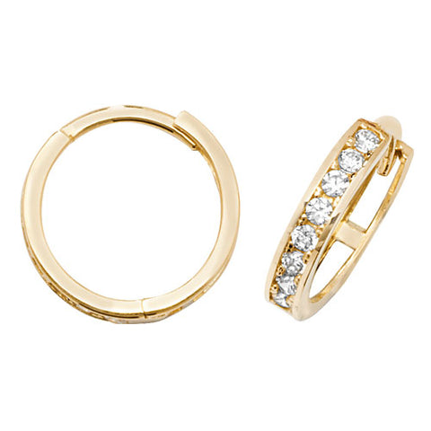 9ct Yellow Gold Hinged Cubic Zirconia Set Earring.