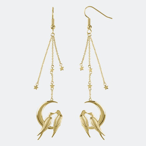 18ct gold plated lovebird drop earrings with star detail from our Moonlight Collection.