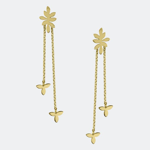 18ct gold plated drop earrings with falling leaf detail from our Gold Leaf Collection.