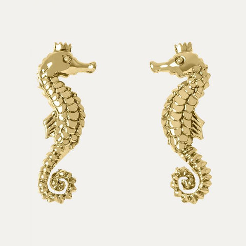 18ct gold plated seahorse stud earrings from our Sara Miller London Piccadilly Collection.