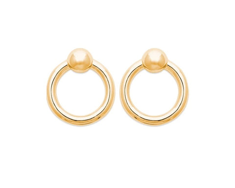 18K Yellow Gold Plated Open Circle Stud Earrings at Bramley's Jewellers of Carlow