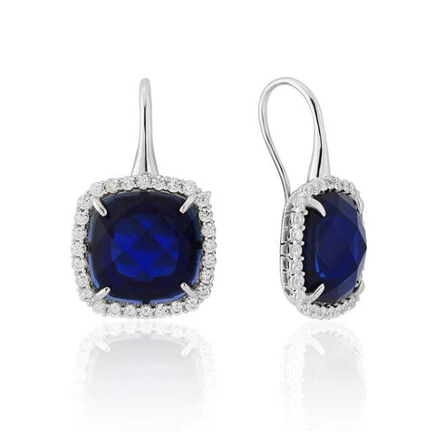 White Created Sapphire Cushion with Cubic Zirconia Earrings