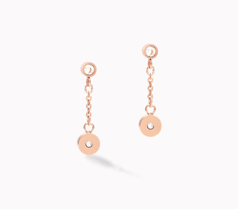Coeur de Lion Earrings Coins & Chains rose gold-white at Bramley's Jewellers of Carlow