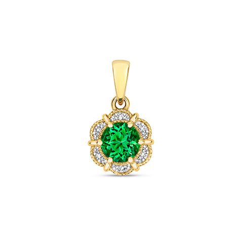 9CT Yellow Gold Diamond & Round Passion Rainforest Topaz Pendant at Bramley's Jewellers of Carlow