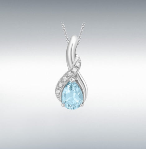 9CT White Gold Diamond and Blue Topaz Pendant at Bramley's Jewellers of Carlow