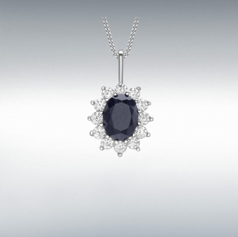 9CT WHITE GOLD BLACK SAPPHIRE AND CZ